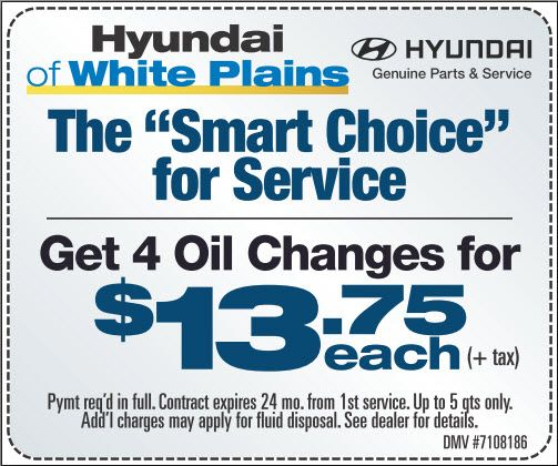 Hyundai OF White Plains Offers 4 Oil Change For $13.75 Each(+tax). Visit Us  For More Discounts Available