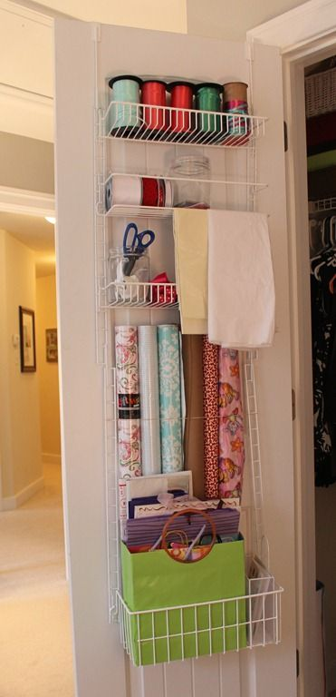Use An Over The Door Pantry Thing   To Organize Ribbon/wrapping Supplies.