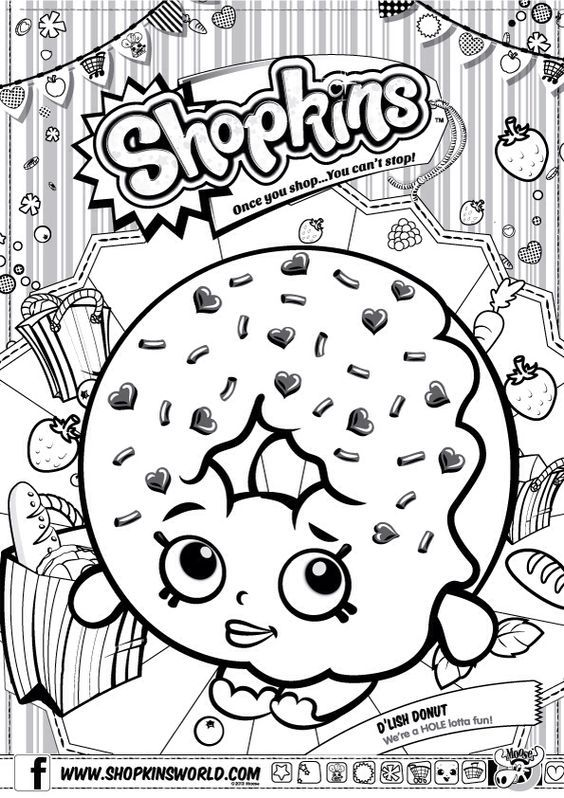 Shopkins Colour Color Page Delish Donut ShopkinsWorld dounut