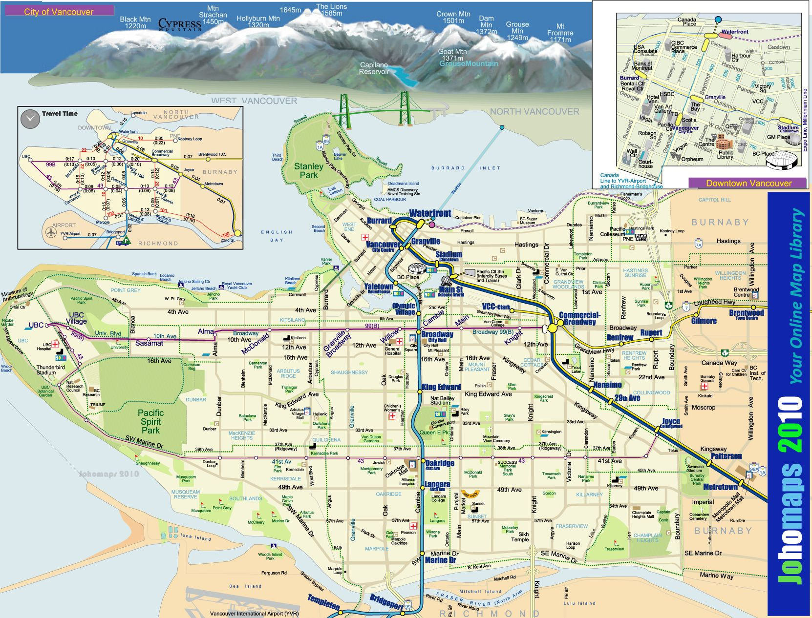 Map Of Vancouver Canada Skytrain Linking Airport To Downtown - Vancouver canada map