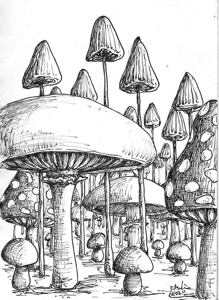 Magic Mushroom Coloring Pages | Cool Trippy Mushroom Drawings ...