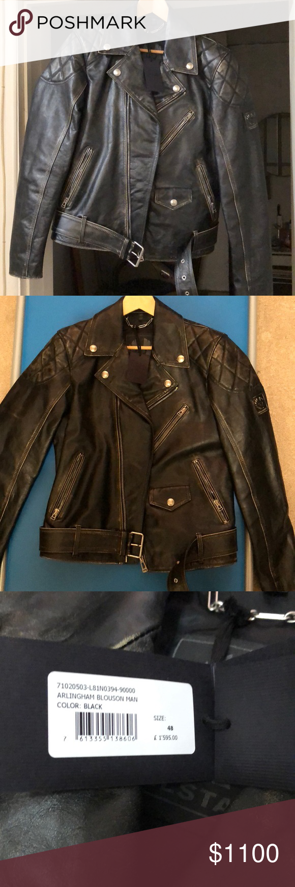 6b3abda985 Belfast Arlingham Blouson Man Leather Biker Jacket Brand new with tags! Belfast  leather jacket.