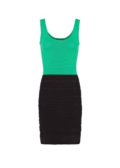 68f0865caef0c9 MANGO - Tweekleurige tricot jurk
