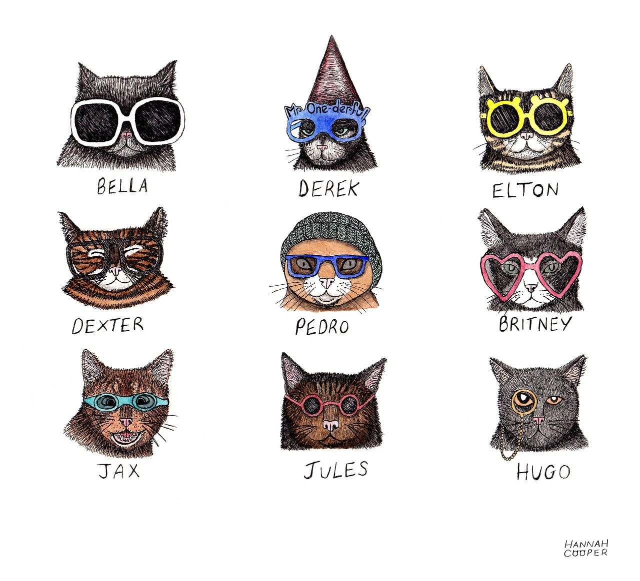9442e68b978d2 cartoon cats with glasses