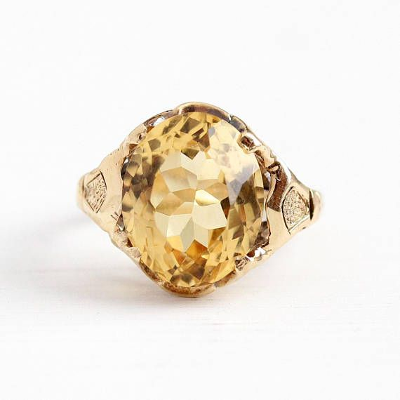 Vintage 10k Rosy Yellow Gold Genuine 4 94 Carat Citrine Ring Retro 1940s Size 4 1 4 Yellow Oval Antique Rings Vintage Featured Jewelry Unique Items Products