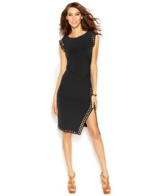 MICHAEL KORS Michael Michael Kors Stud-Trim Side-Slit Dress. #michaelkors #cloth # dresses