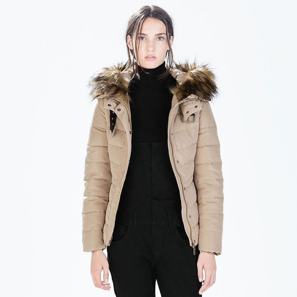 ce03750a ZARA Woman BNWT Sand Cream Quilted Anorak With Fur Hood Duck Down S-M-L  8073225