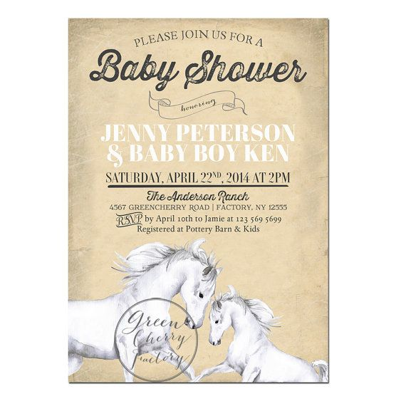 Horse Baby Shower Invitation  Horse Ranch   by GreenCherryFactory, $18.00