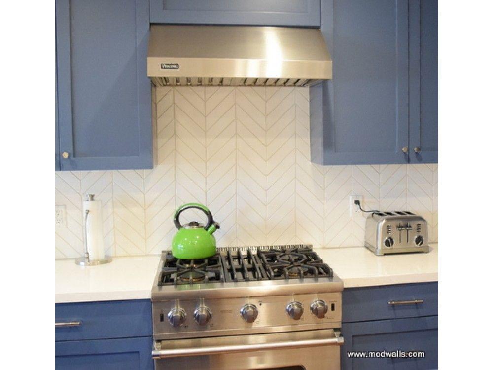 Kiln Chevron American Made Ceramic Tile in Milk American Made Tile