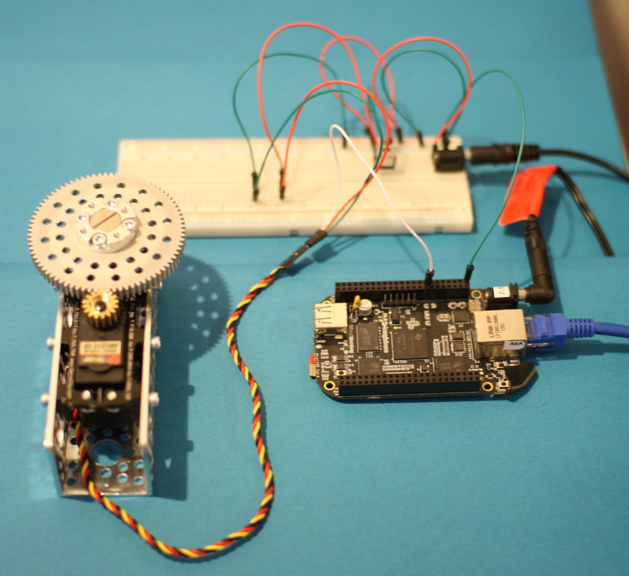 A Servo Motor Connected To A Beaglebone Black Running Linux Beaglebone Black Black Beagle Linux