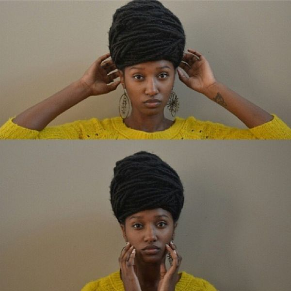 Locs in a beehive hair wrap. Found by Twitter's UKNaturals