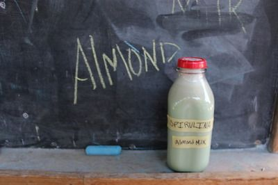 Homemade almond milk recipe with nutrient powerhouse spirulina. Get it.