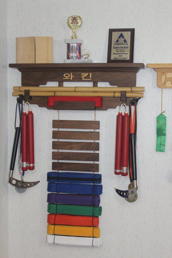 Martial Arts Rank Belt Display Rack Walnut With Second Wood Etsy Belt Display Karate Belt Display Belt Display Rack