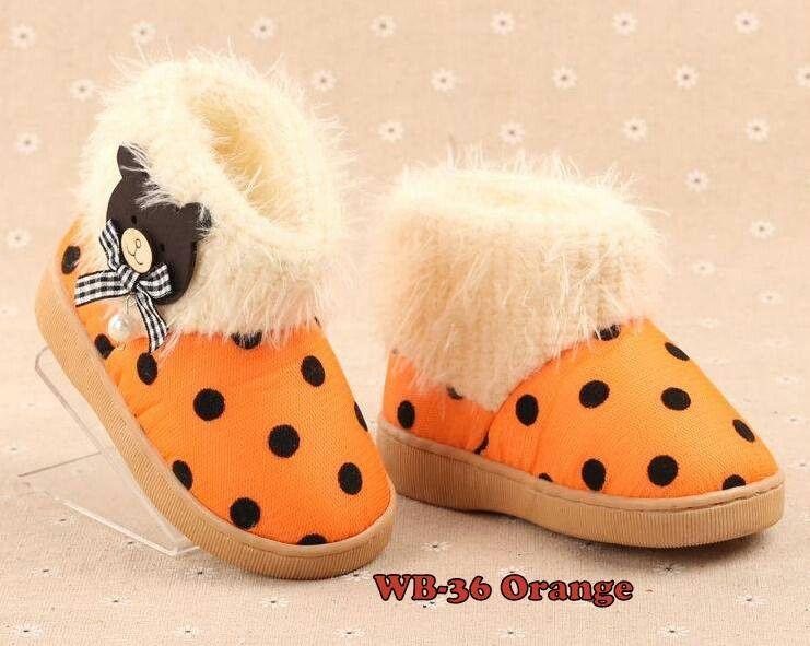 Sepatu Winter Import Balita Kode Wb 36 Teddy Polka Orange Price Rp