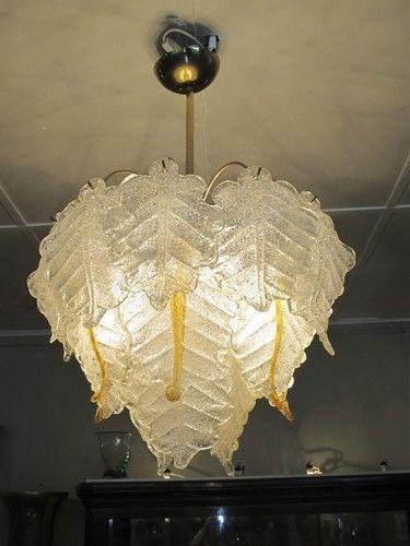 Murano and bronze art deco hanging lamp