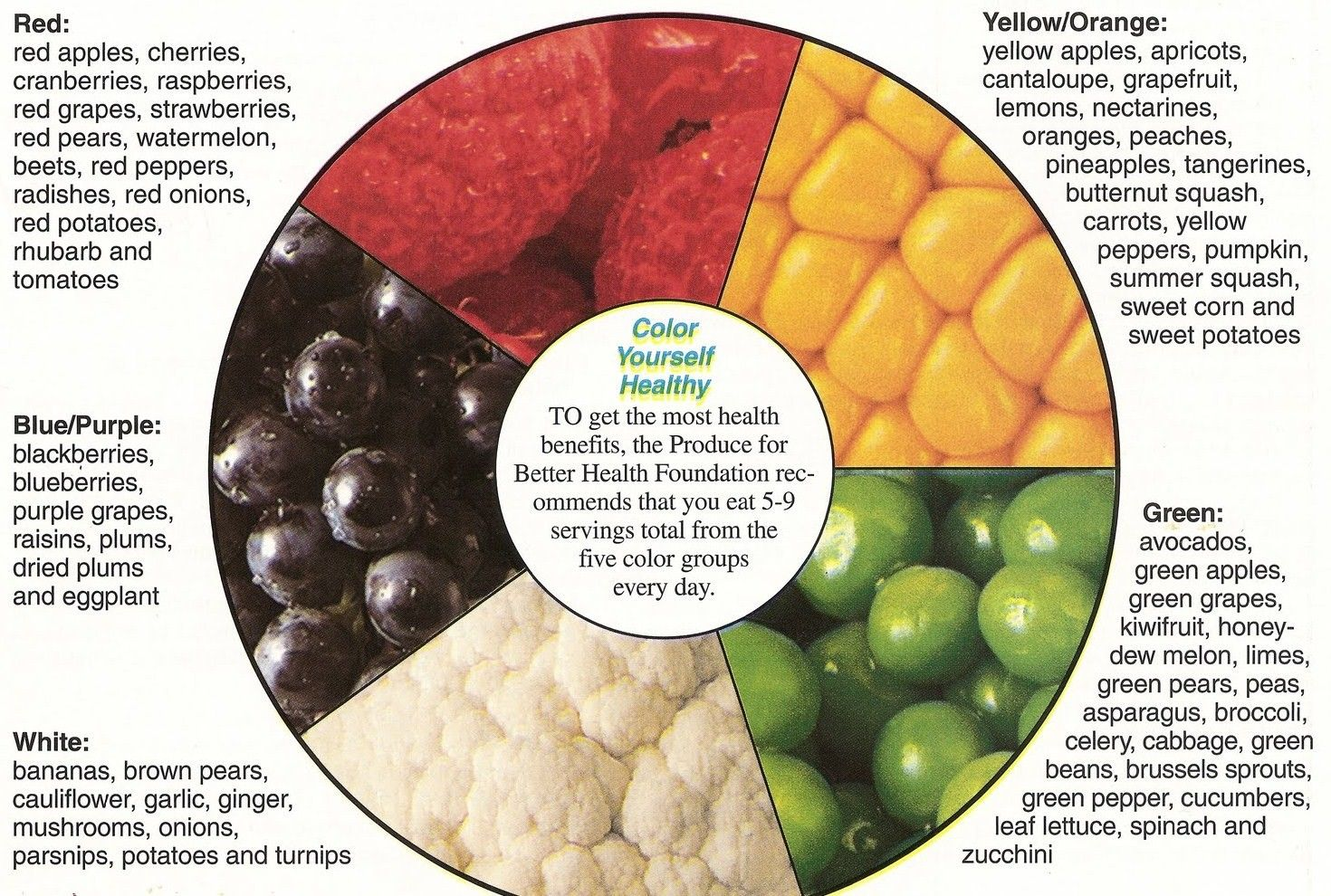 Eat your colors every day to balance your diet karma jello 5 a day fruits and vegetables chart fruit veggie color wheel balance eat your colors nvjuhfo Images