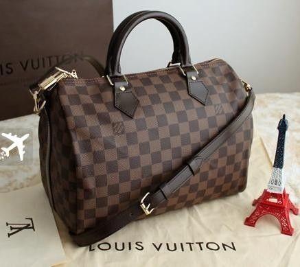 773c2b63d PROMOÇÃO LOUIS VUITTON SPEEDY! Bolsa Louis Vuitton Speedy Bandouliére  Damier Ebene Couro 35 Compre já