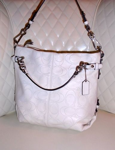 154a1b7f3d54 COACH Brooke Bone Perforated Leather C Hobo Bag . Starting at  1 ...