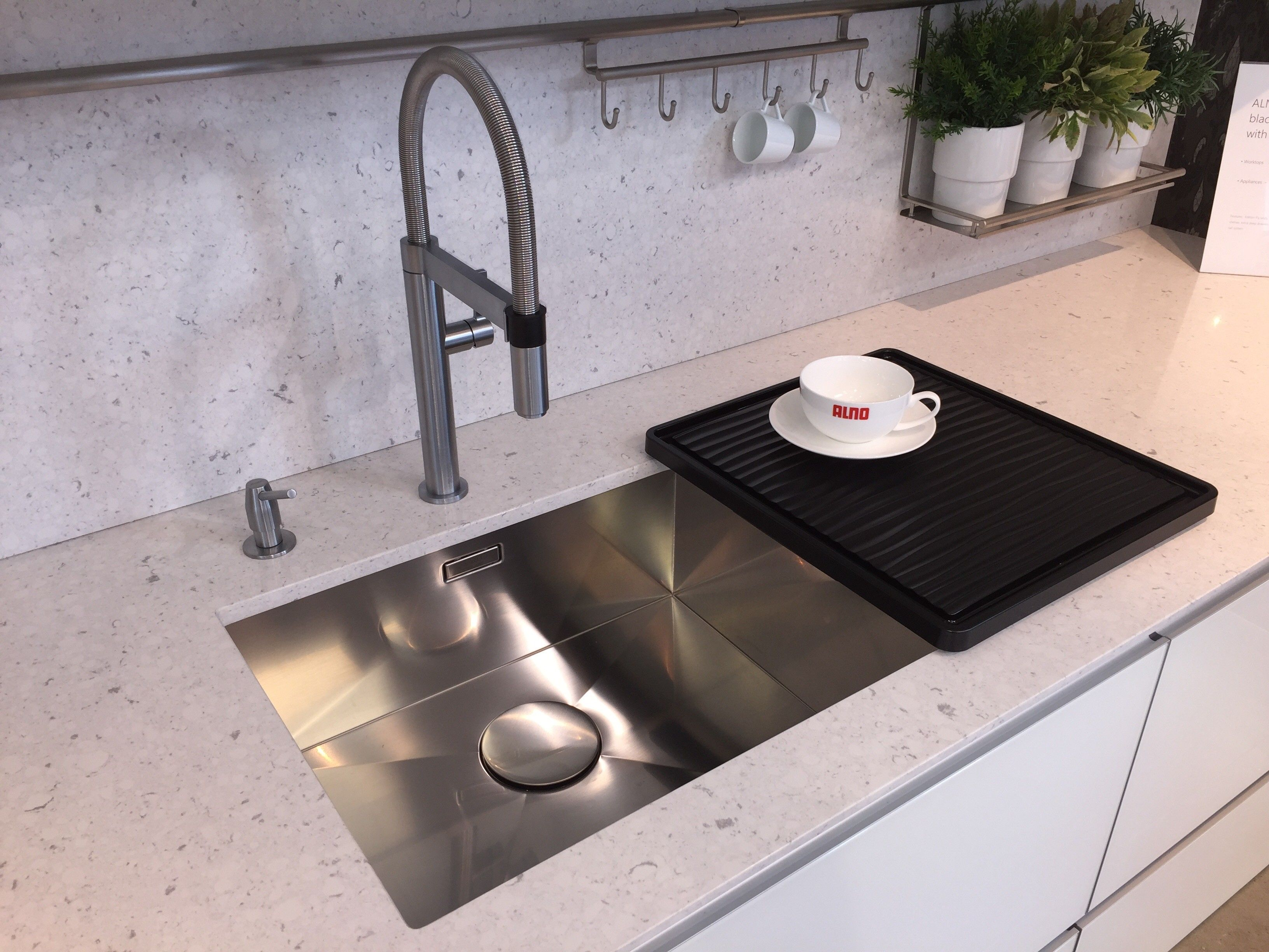 ALNO Kitchen Including A Blanco Culina S Mini Tap In Brushed Steel Finish  With Matching Soap Dispenser And Blanco Zeroz Sink With Wave Removable  Drainer