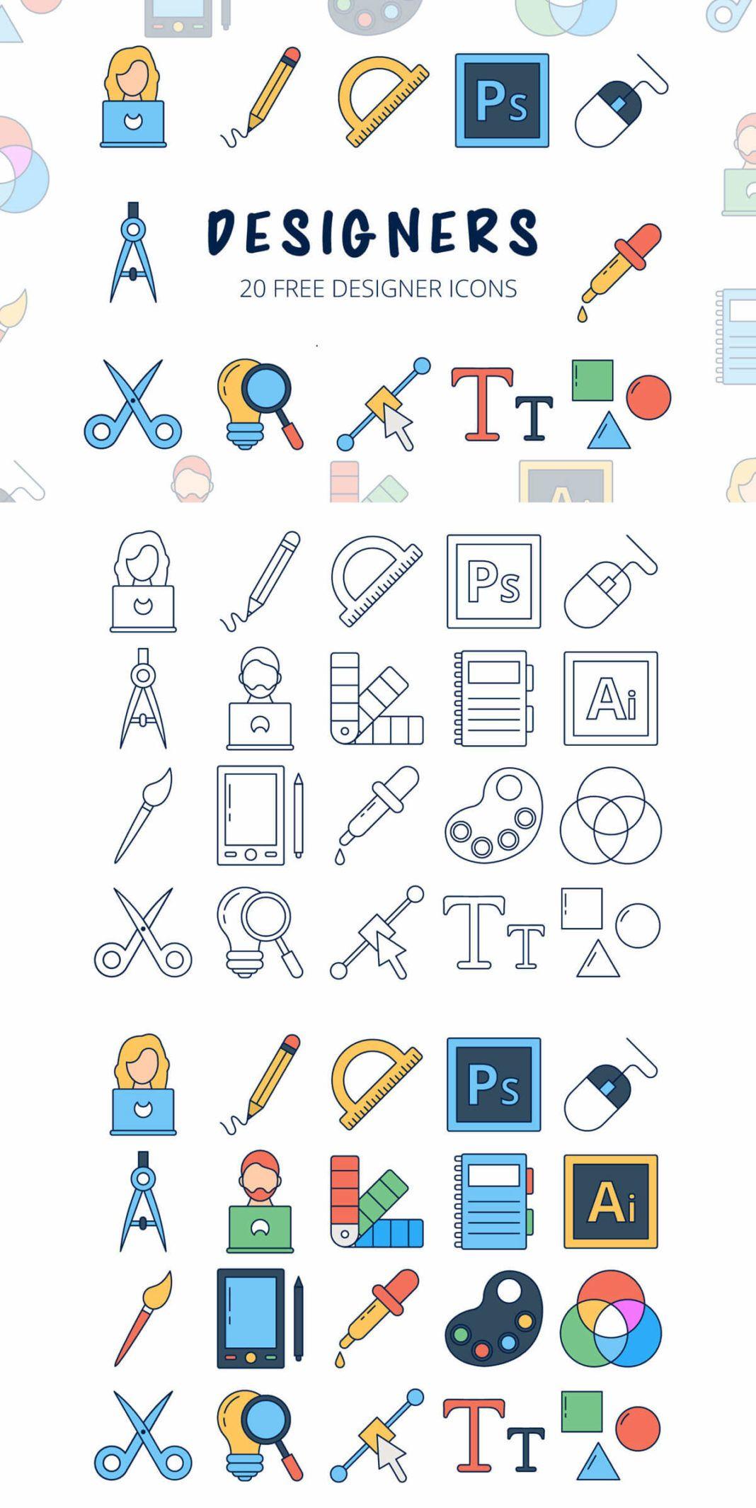 Free Designers Vector Icon Set Web design icon, Icon set