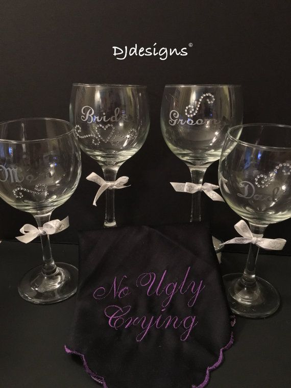 Set of 4 Custom Wedding Wine Glasses, Beautifully Designed! With Diamond Accents, and Silver Letters.
