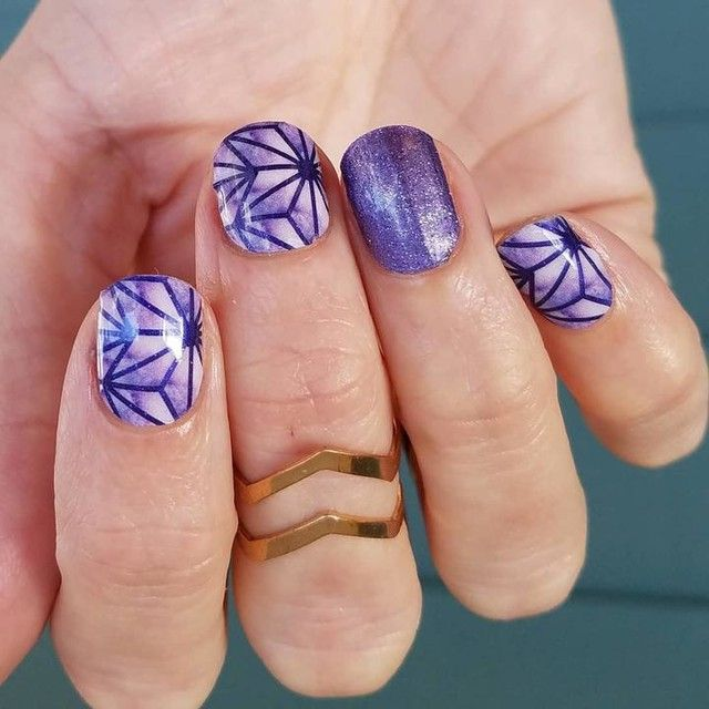 This gorgeous purple manicure is done with Jamberry Entourage nail ...