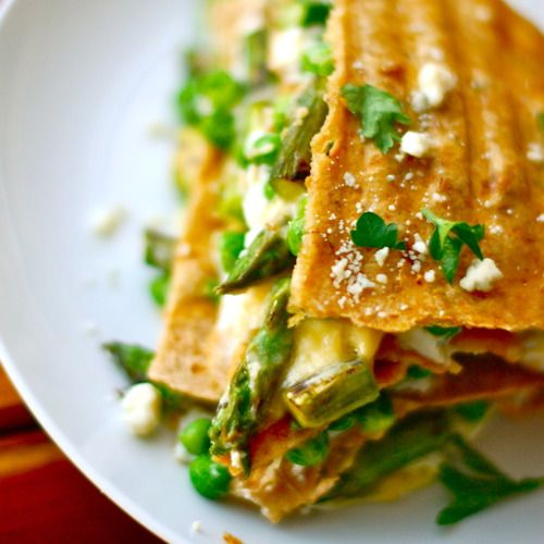 Asparagus Quesadilla Lasagna  (sub with sprouted corn or other GF tortilla?)