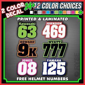 Custom Racing Name Number Plate Vinyl Decals Mx Atv Go Kart Snowmobile Dirt Bike Go Kart Print Decals Atv