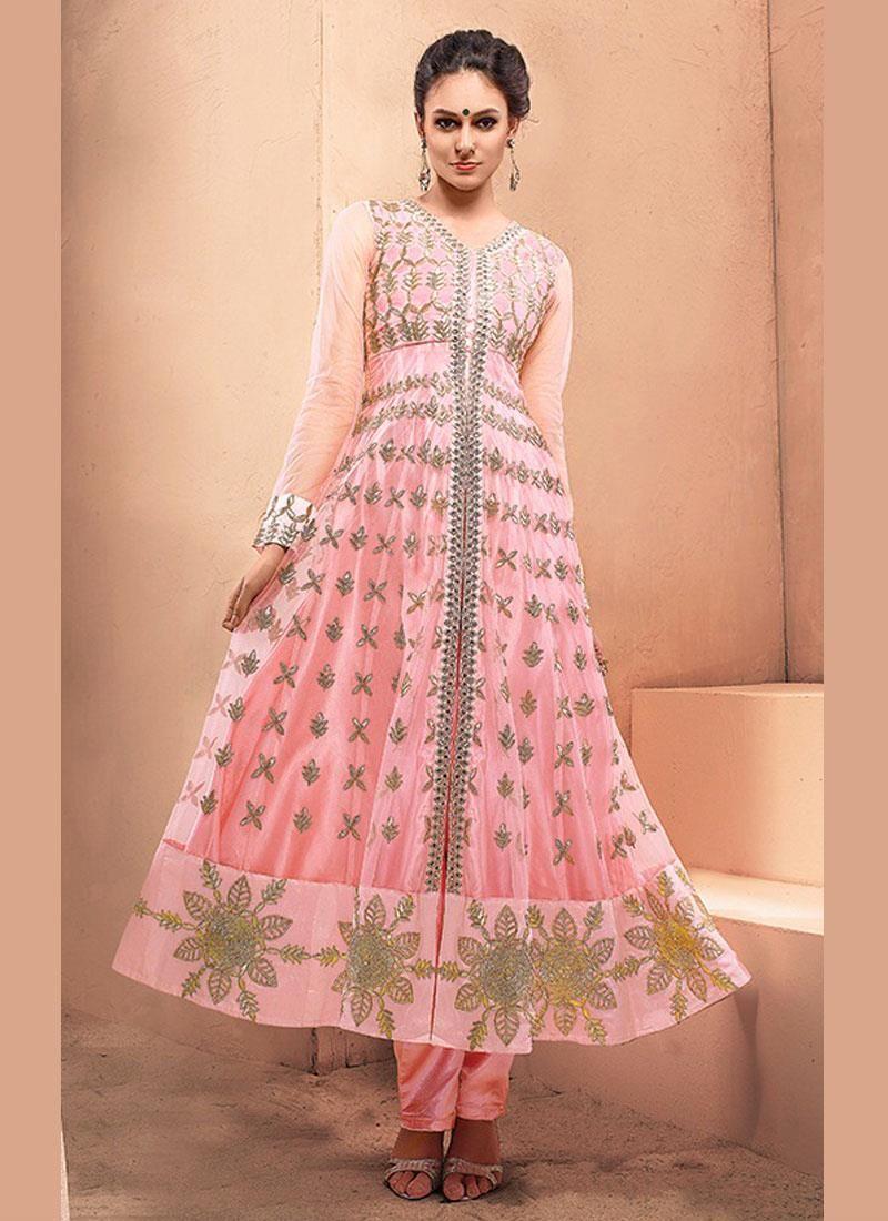 Glowing zari work net hot pink anarkali salwar suit the girly pink