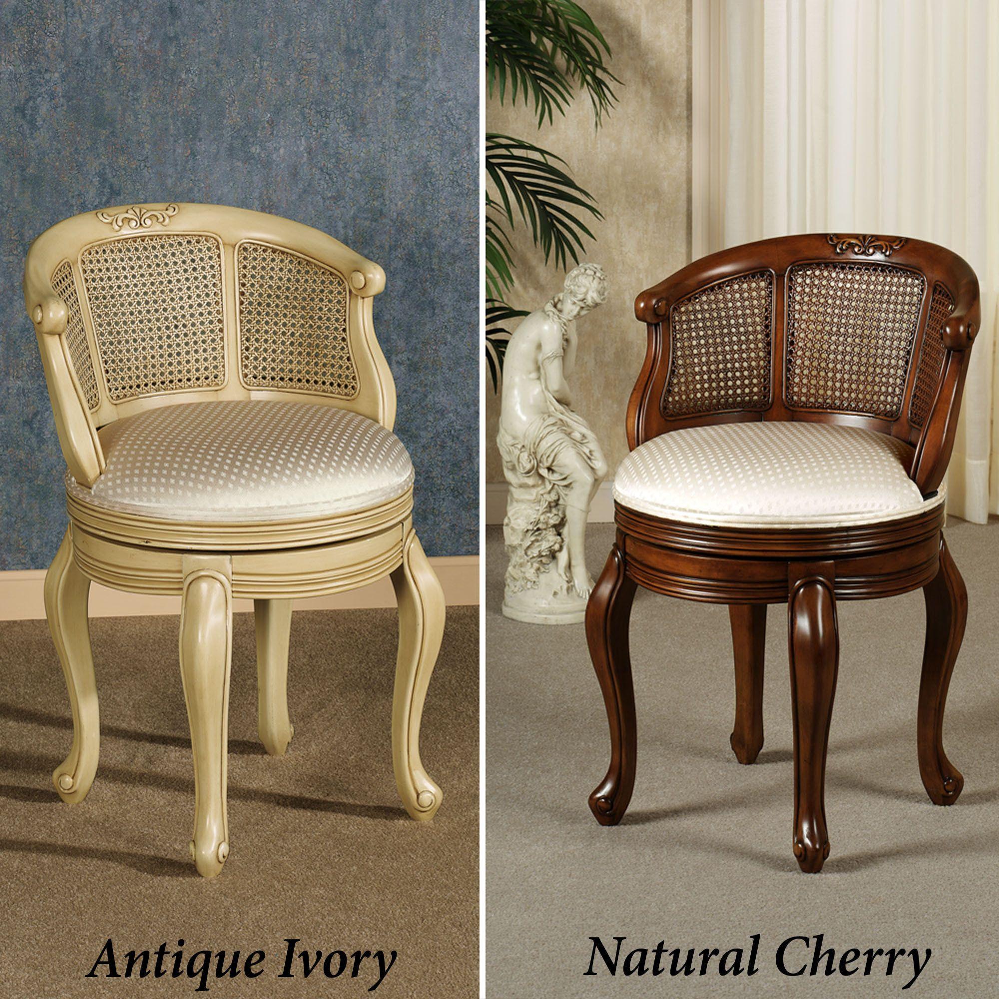 Belhurst Natural Cherry Swivel Vanity Chair Home Decor