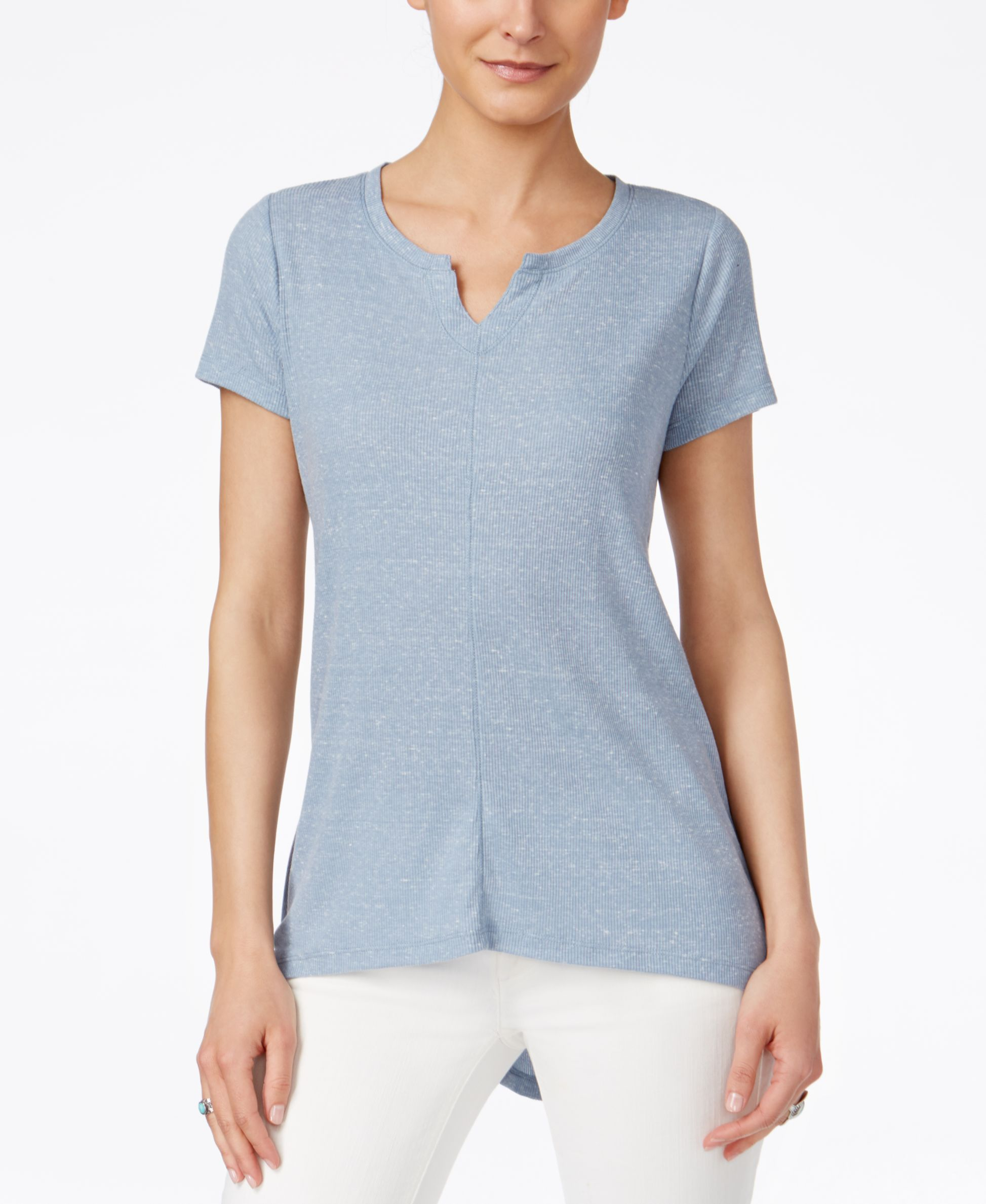 Style & Co. Ribbed High-Low T-Shirt, Only at Macy's