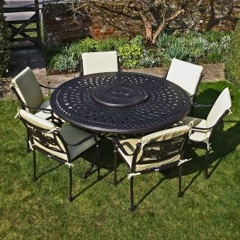 frances 6 seater 150cm round cast aluminium garden furniture set