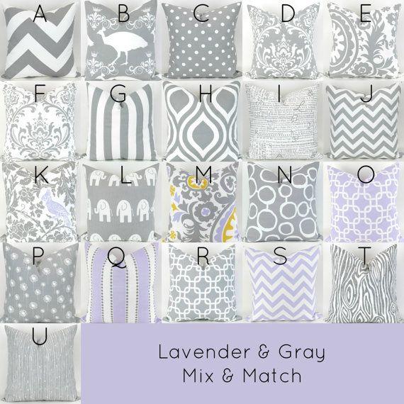 Gris y púrpura almohada cubierta - 18 x 18 - Mix/Match lavanda gris tiro blanco cojín euro sham negrita decorativos personalizados vivero Premier Prints