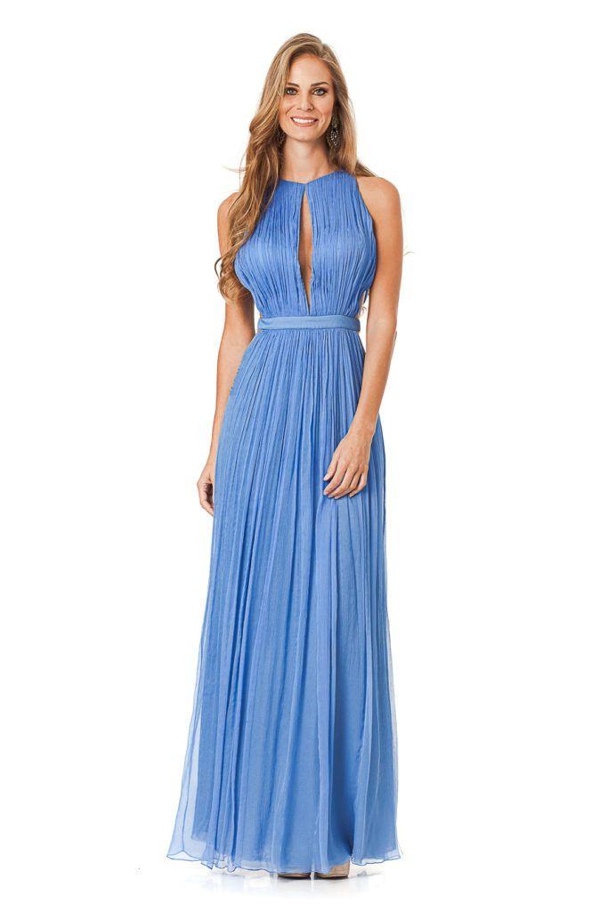 d8930df640 Infinity - Vestido longo na cor azul com transparência no busto e lateral.  Peça com