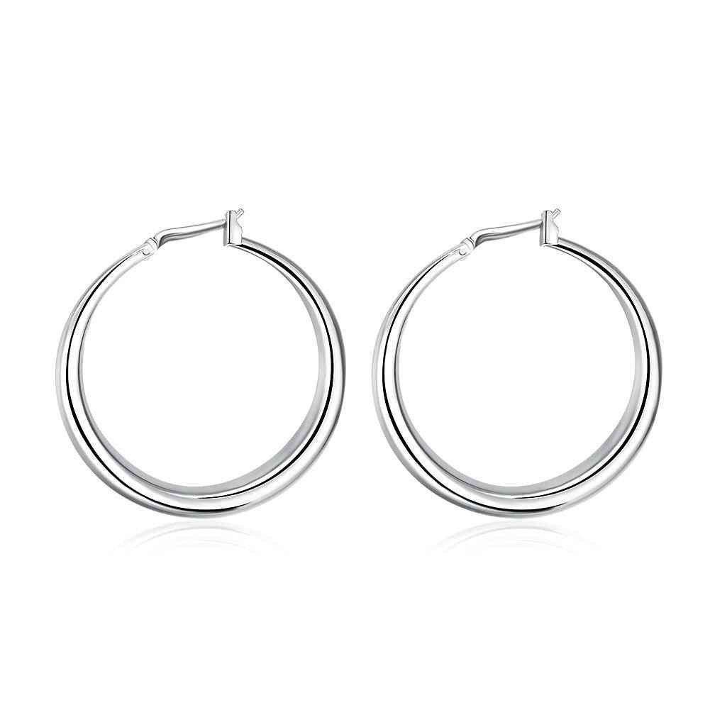 solid 925 sterling silver 13.5mm hoop circle earring hoops huggies