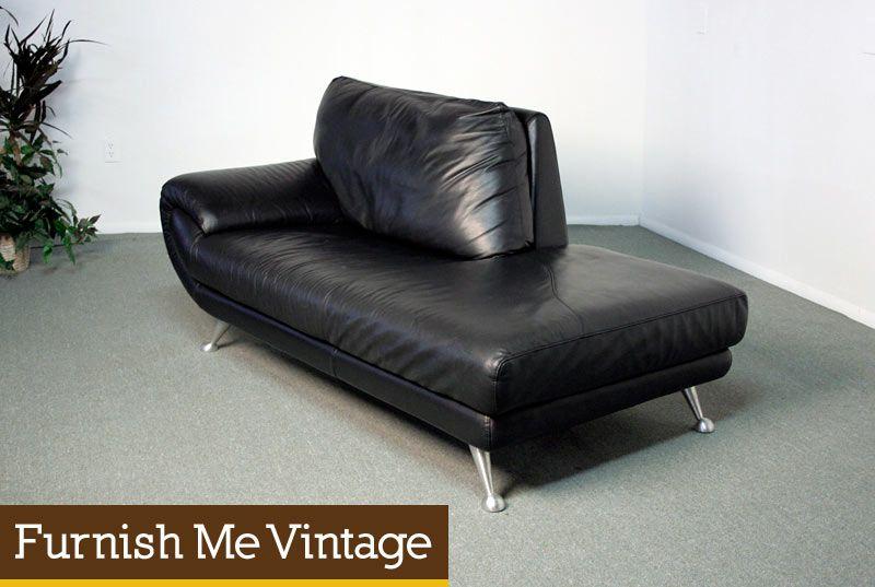 Nicoletti Black Leather Chaise Lounge Sofa Chaise Lounge Sofa