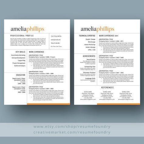 Resume Templates Modern Modern Resume Template The Amelia  Misc  Pinterest  Modern