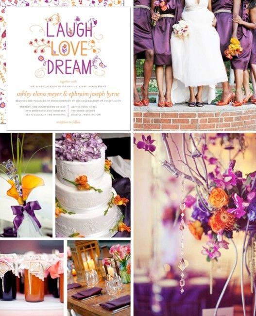 Purple And Orange Wedding Theme Wedding Colors Purple Orange