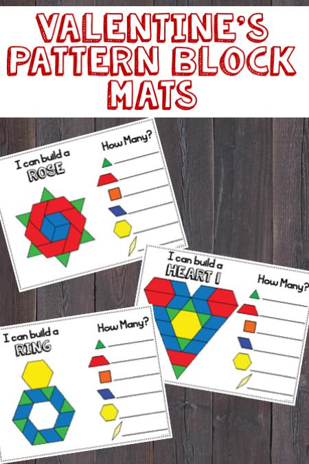Valentines Day Pattern Blocks Mats Pattern Blocks Kindergarten