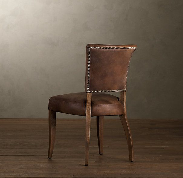 Adele Leather Side Chair Leather Dining Room Chairs Restoration Hardware Dining Room Leather Dining Chairs