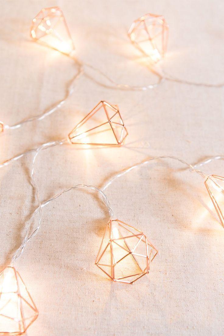 Geometric Diamond Fairy Lights Rose Gold Rose Gold Fairy Lights Rose Gold Rooms Rose Gold Room Decor