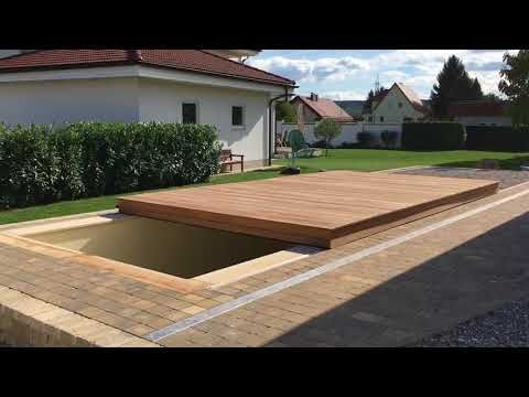 vollautomatische poolabdeckung begehbar vollautomatisch youtube jardines pinterest. Black Bedroom Furniture Sets. Home Design Ideas