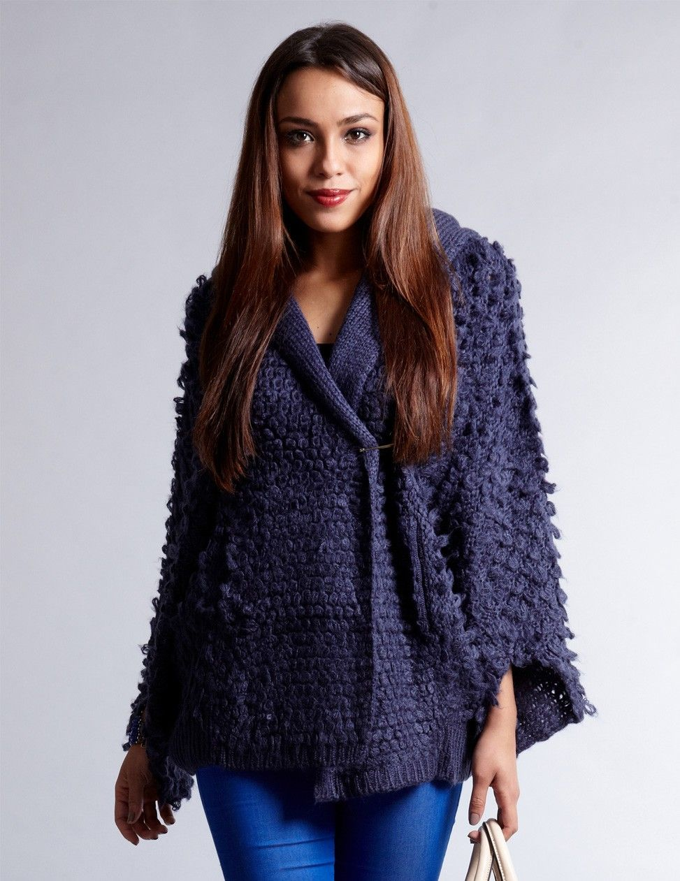 navy cardigan | Womens Cardigans | Pinterest | Knitted cape, Navy ...