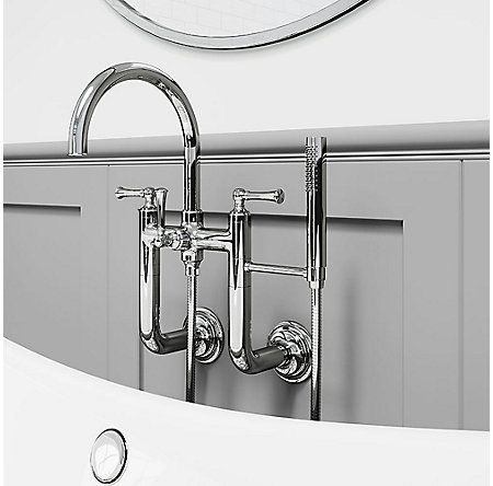 Tisbury Wall Mount 2 Handle Tub Filler With Hand Shower With