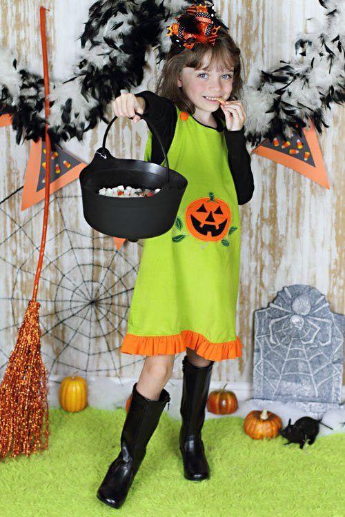 Jack-O-Lantern Baby Girls Green Halloween Dress – Carousel Wear