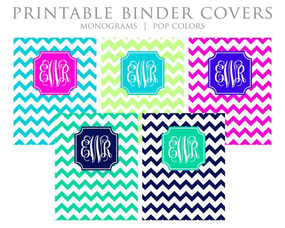Printable Binder Covers - Monogram, Chevron, Blue, Lime, Magenta - binder cover template