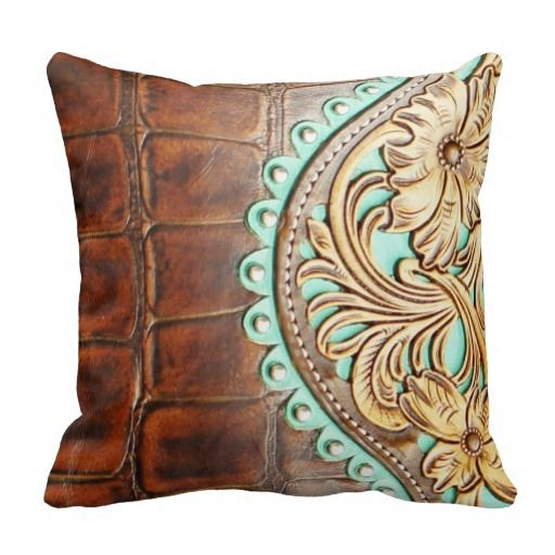 Tooled Chap Design On Alligator Leather Look Throw Pillow DIY Impressive Western Style Decorative Pillows