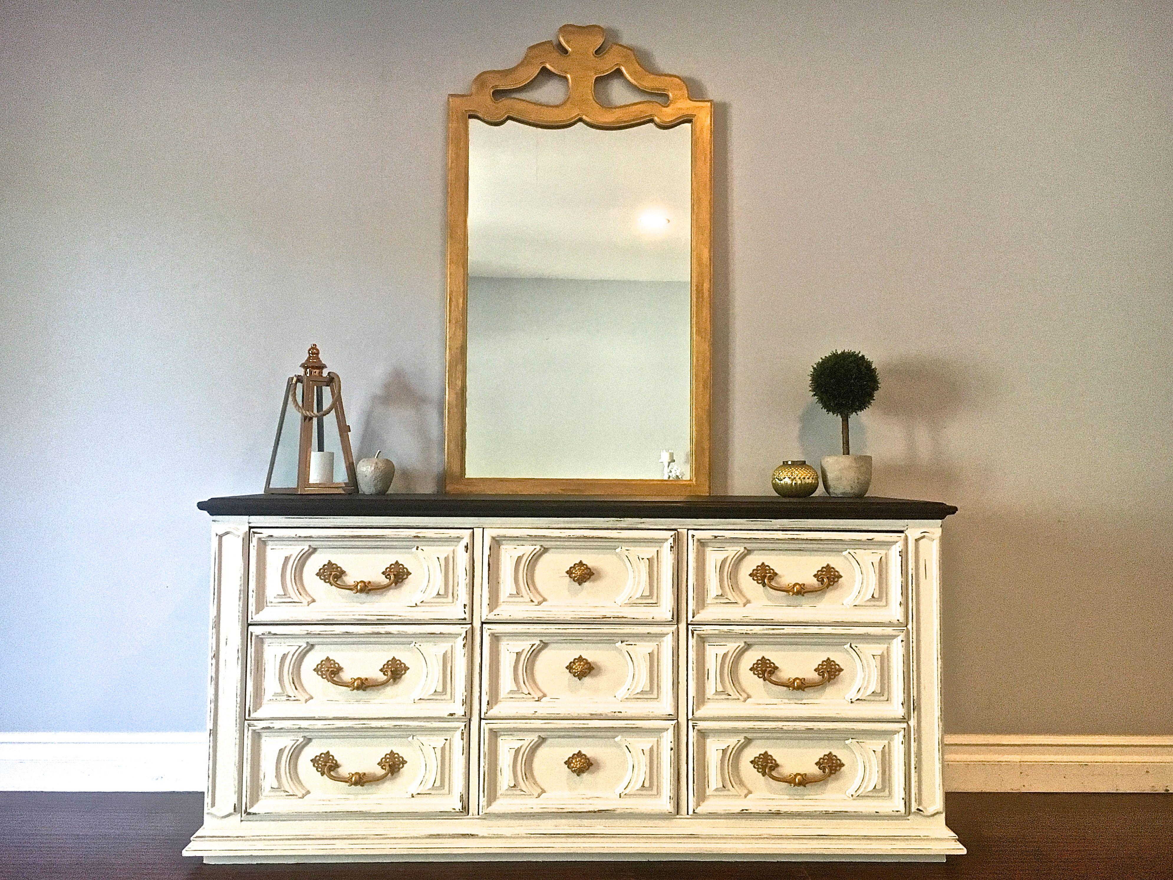 White, Black U0026 Gold Dresser W/Mirror   $450   SOLD