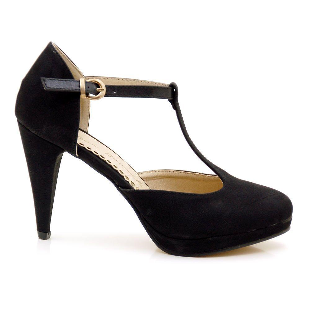 097b27ca7779e Zapatos mujer pala y talon corte en T y mini plataforma por 29