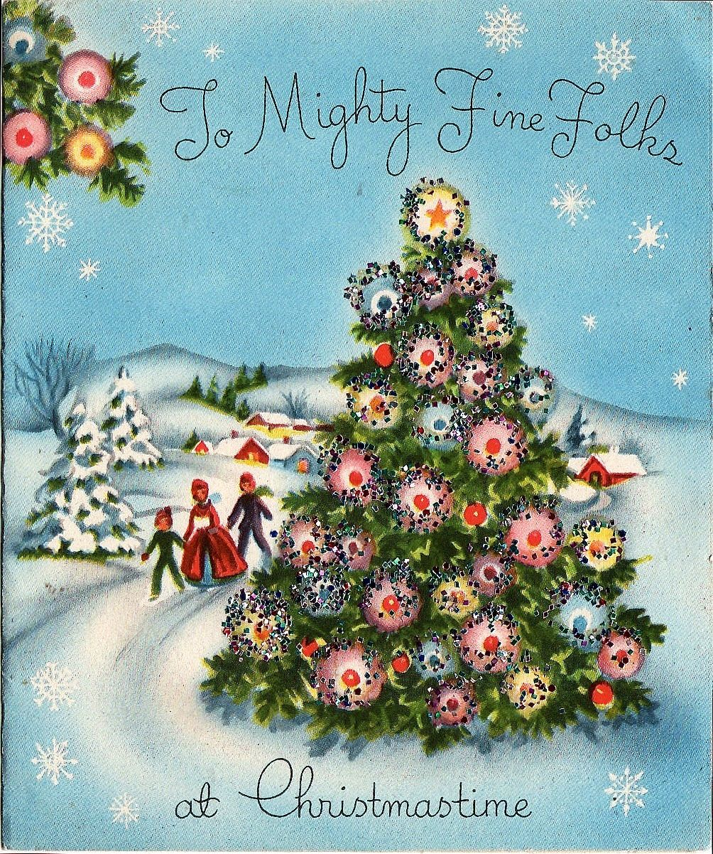 Lovely outdoor christmas scene vintage christmas cards for Outdoor christmas scenes